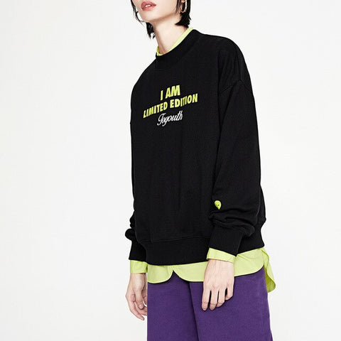 Green Letter Printed Round Neck Long Sleeve Sweatshirts