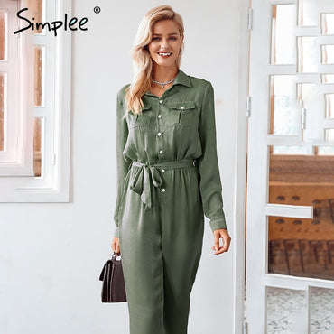 Elegant sashes buttons satin long sleeve pockets elastic waist Jumpsuits
