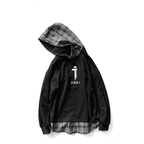 Embroidery Casual Plaid Hooded Patchwork Hoodies