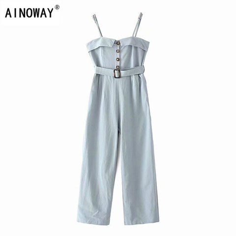 Vintage chic Boho solid sleeveless button v-neck linen cotton Jumpsuit