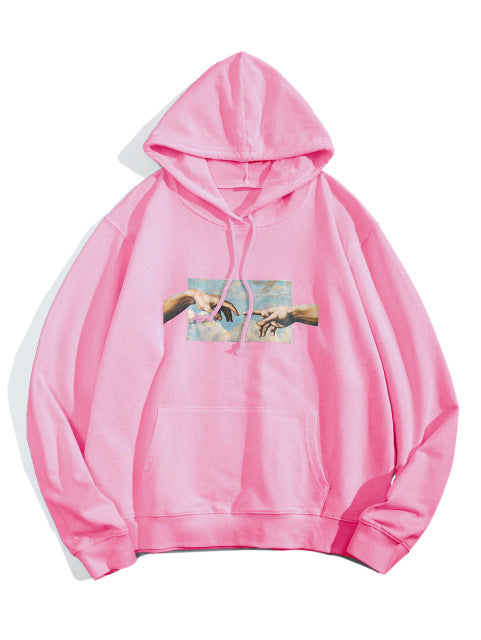 Helping Hands Graphic Front Pocket Drawstring Cotton Hoodie