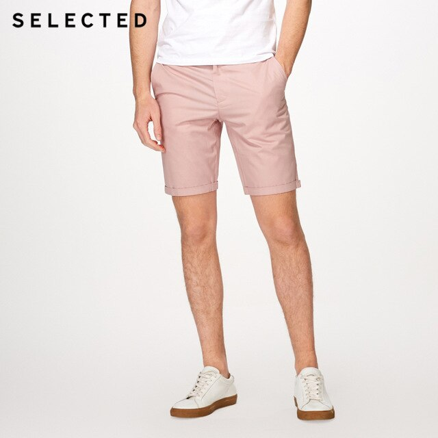 fabric blend straight-leg leisure shorts