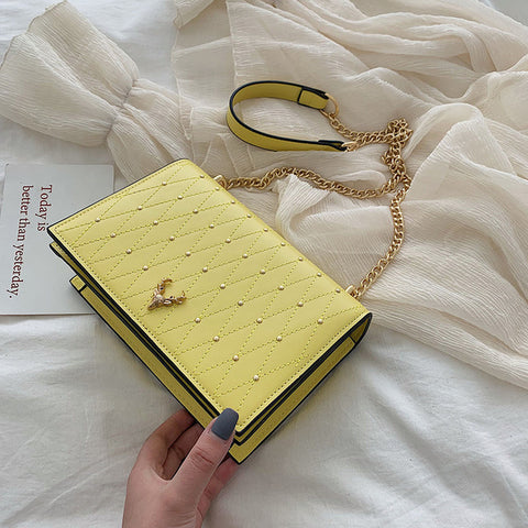 Luxury PU Leather Chain Rivet Handbag