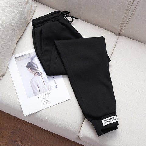 loose casual Cotton velvet pocket high waist leisure Pants