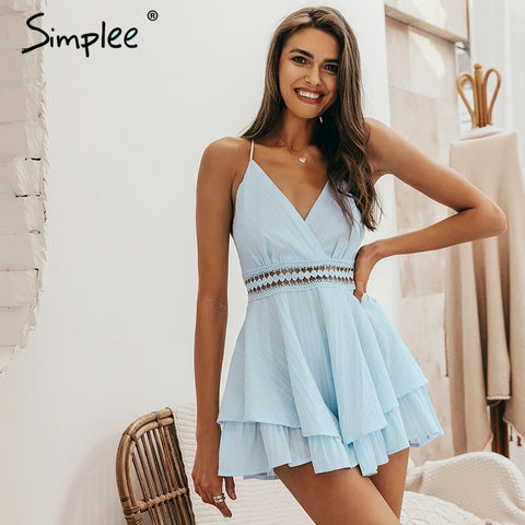 Sexy v neck Hollow out waist spaghetti strap romper
