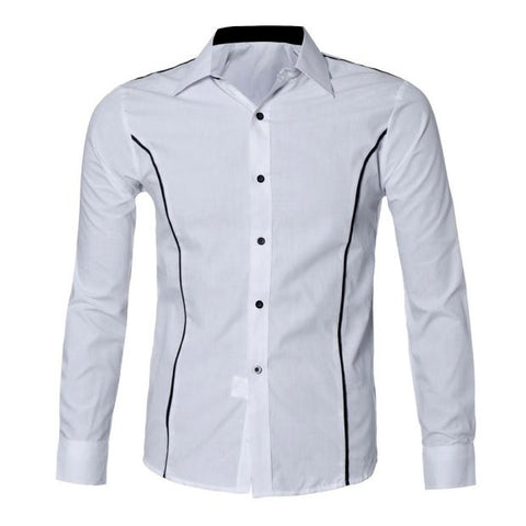 Long-Sleeved Stripe Print Dress Shirt