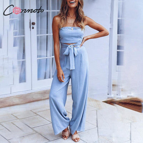 Hollow out  Wide Leg Long Fashion Lace up Jumpsuits