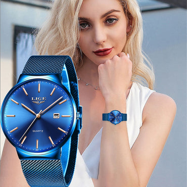 luxury Analog Quartz Full Blue Mesh Stainless Steel Date Watch