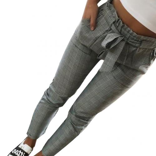 Plaid Pleated High Waist Skinny Pencil Pants