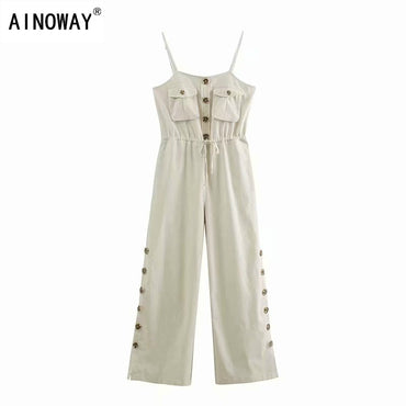 Vintage chic solid color sleeveless pockets button linen cotton Jumpsuit