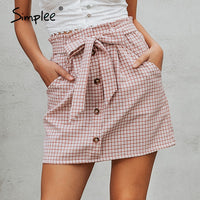 Bow tie plaid short skirt