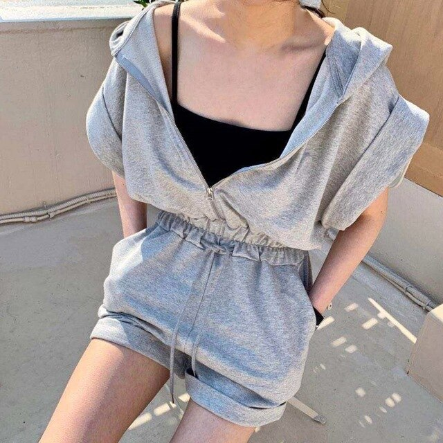 Short Sleeve Elegant Solid Casual Romper