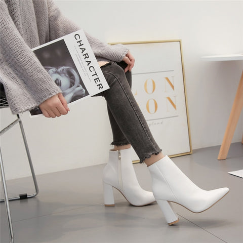 Luxury Sexy Western Cowboy Leather Block White Heels Ankle Boots