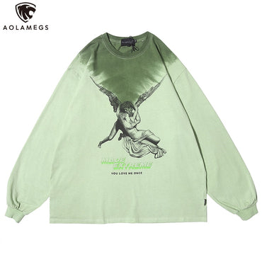 Watercolor Hit Color Retro Culture Printed Cotton Sweatshirts