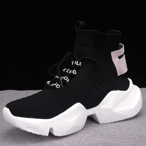 High top Platform Knitted Casual White Black Sneakers