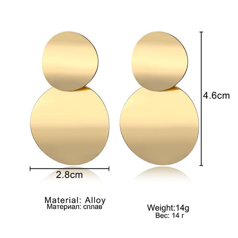 Unique Metal Gold Color Round Statement Earrings