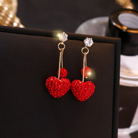 Exquisite Red Rhinestones Love Pendant Silver Needle Earrings
