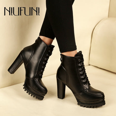 PU Leather Platform Ankle Strap Boots