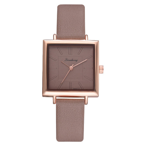 Square Bracelet Contracted Leather Crystal Wrist Watches