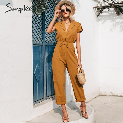Casual high waist lace up Buttons wide leg Jumpsuits