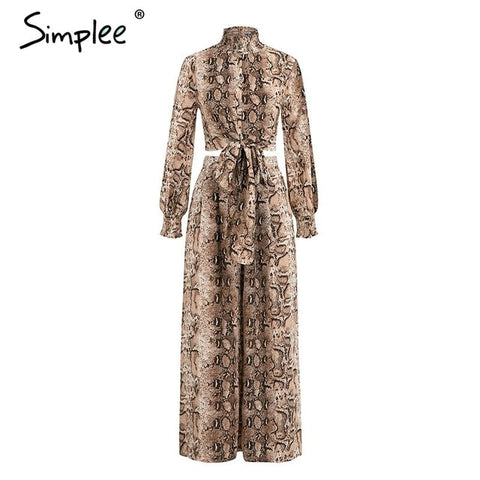 Snake print Long sleeve casual co-ordinates Jumpsuits