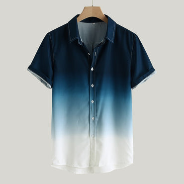 Gradient Loose Casual Short Sleeve Shirts