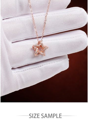Sterling Silver Sparkling Star Exquisite Pendant Necklaces