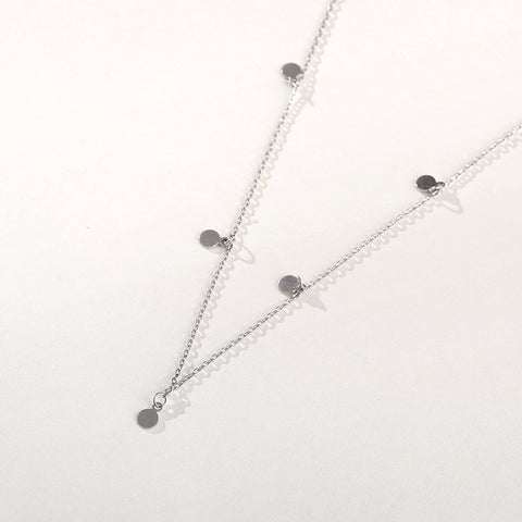 Sterling Silver Minimalist Geometric Bright Disc Choker Necklace