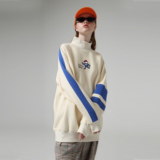 Color Long Sleeve Cartoon Striped Sweatshirts