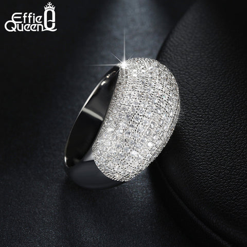 Effie Queen Luxury Big Cubic Zircon Paved Setting Crystal Finger Ring