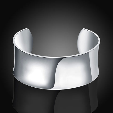 Silver Simple Round Big Open Bangle Bracelet