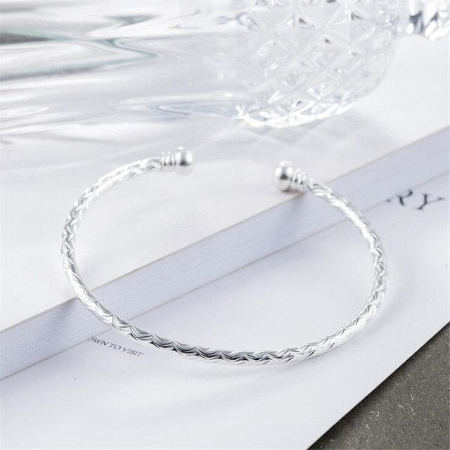 Opening Adjustable Silver Plated Not Allergic  Bracelets Bangles