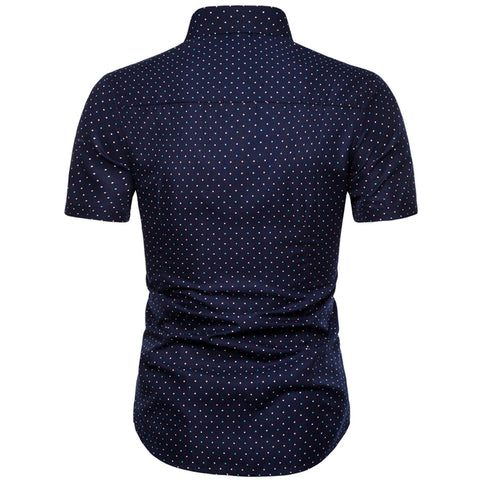 Dot-Print Casual Short Sleeve Shirts