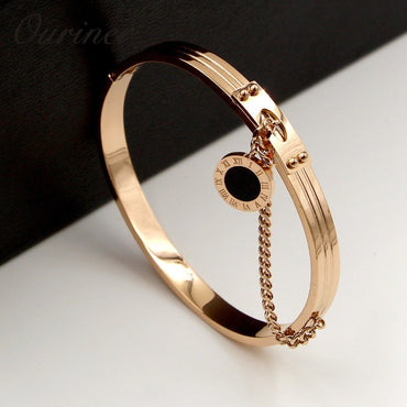 Black Round Tag Chain Roman Stainless Steel Rose Gold Bracelets Bangles