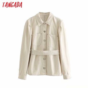 white thin with Belt button pocket long sleeve turn down collar denim jackets