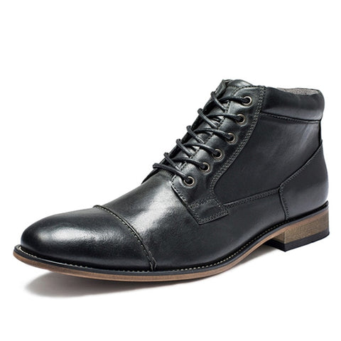 Genuine Leather Vintage Brogue Casual Boots