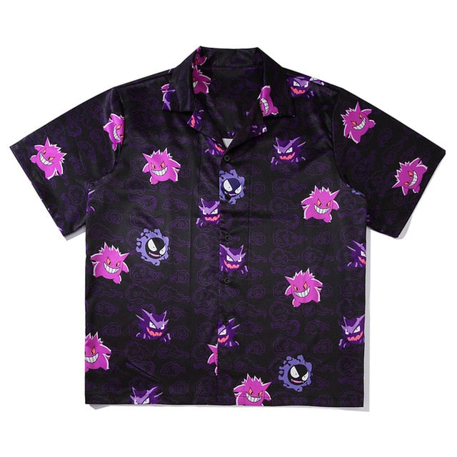 Print Hawaiian Blouse Punk Rock Unisex Oversize Short Sleeve Shirts