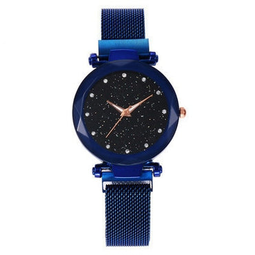 Stainless Steel Band Mesh Magnet Buckle Starry Sky Analog Wrist Watch