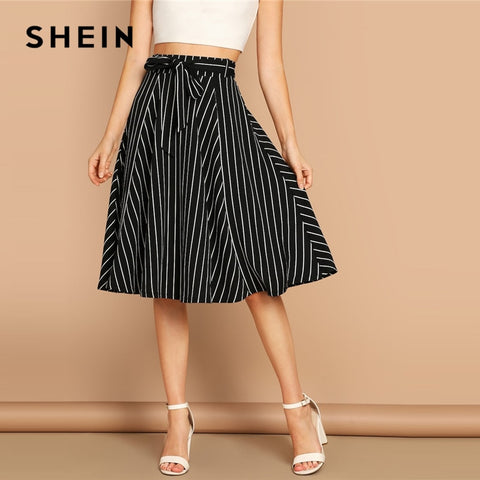 Black and White High Waist Striped Belted Shift A Line Boho Bohemian Skirts