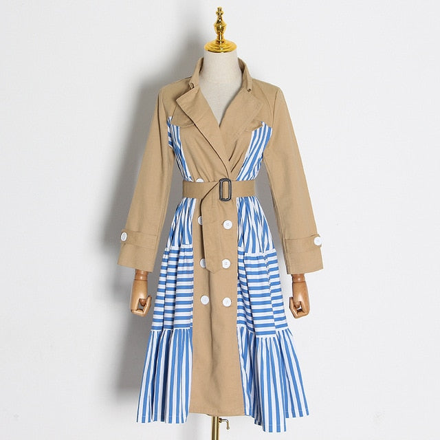 Casual Patchwork Striped Trench Coat