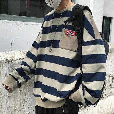 Striped Casual O-Neck Long Sleeve Hip Hop Loose Sweatshirts