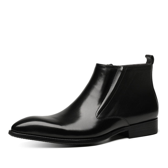 Pointed-Toe Genuine Leather Boots