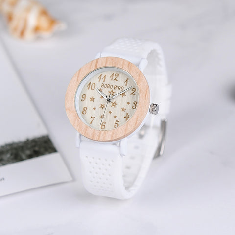 Star Series White Strap Wood Watches