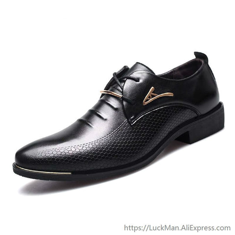 Luxury Classic Pointed Toe Pu Leather Black Oxford Shoes