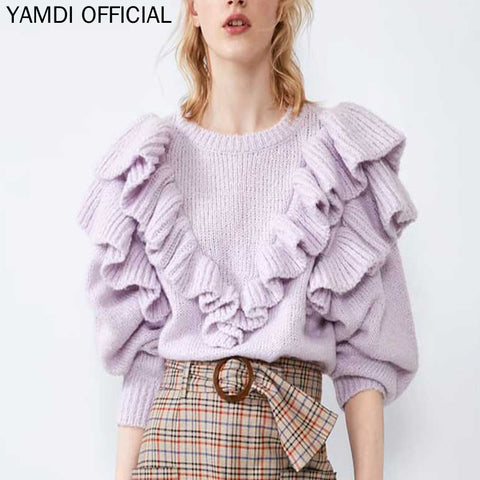 knitted runway jumper solid purple Boho Bohemian Sweaters
