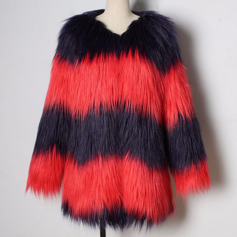 Colorful Faux Fur V-Neck Fur Bohemian Jackets Coats