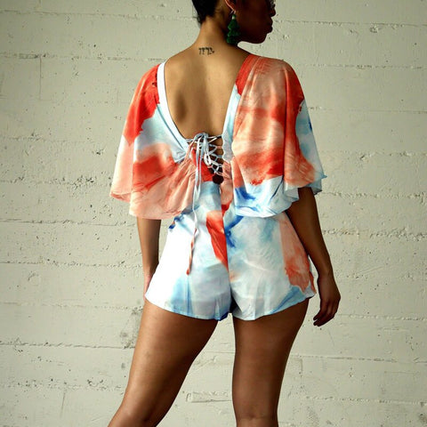 Floral Printed Ruffles Batwing Sleeve Sexy V Neck Backless Boho Bohemian Rompers