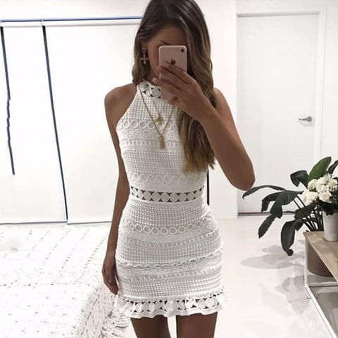 Sexy Lace Stitching Hollow Out Elegant Sleeveless White Dress