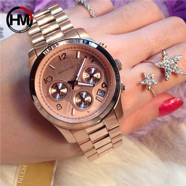 Classic Rose Gold Top Brand Luxury Casual Waterproof Watches