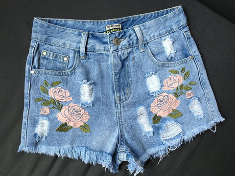 Casual Denim Embroidery Floral High Waist Cotton Boho Bohemian Shorts
